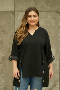 Black V Neck Tab Roll up Sleeve Slits Plus Size Top
