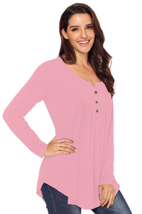 Pink Long Sleeve Button up Pleated Tunic