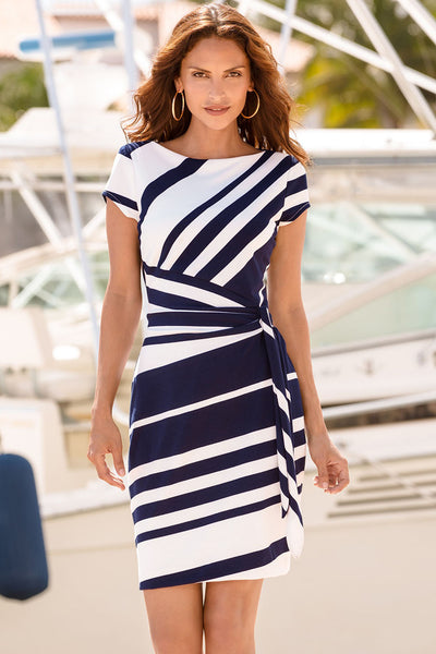 Navy White Stripe Knot Sheath Dress