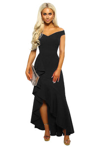 Black Off The Shoulder Frill Detail Maxi Dress