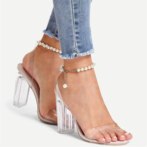 Fish mouth beaded chain high heel sandals