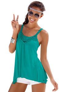 Green Lace Patchwork Sleeveless Top