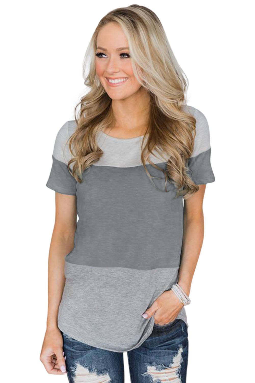 Gray Contrast color T-shirt