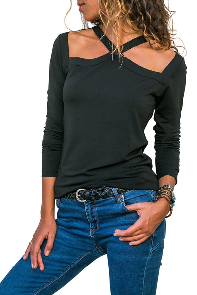 Black Long Sleeve Hollow Out Crisscross Top
