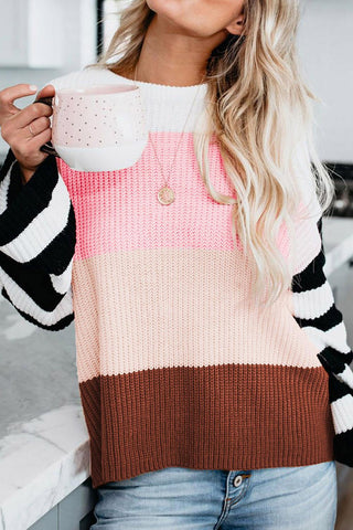 POPHERS Pink Crew Neck Color Block Oversized Pullover Knit Sweater