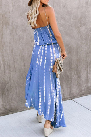POPHERS Marine Strapless Tie Dye Asymmetrical Dress