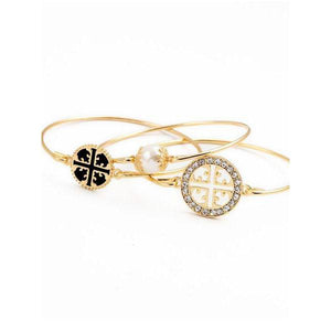 Gold Plated Hollow Out Three Bracelets Set