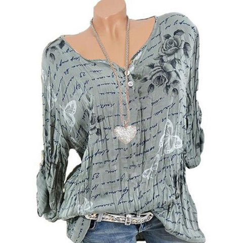 POPHERS Round Neck  Printed Blouses
