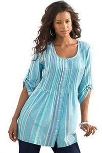 Blue Pleated Stripe Button Front Tunic