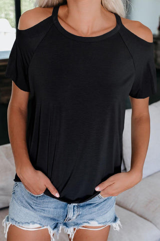 Black Stretch Cutout Tee