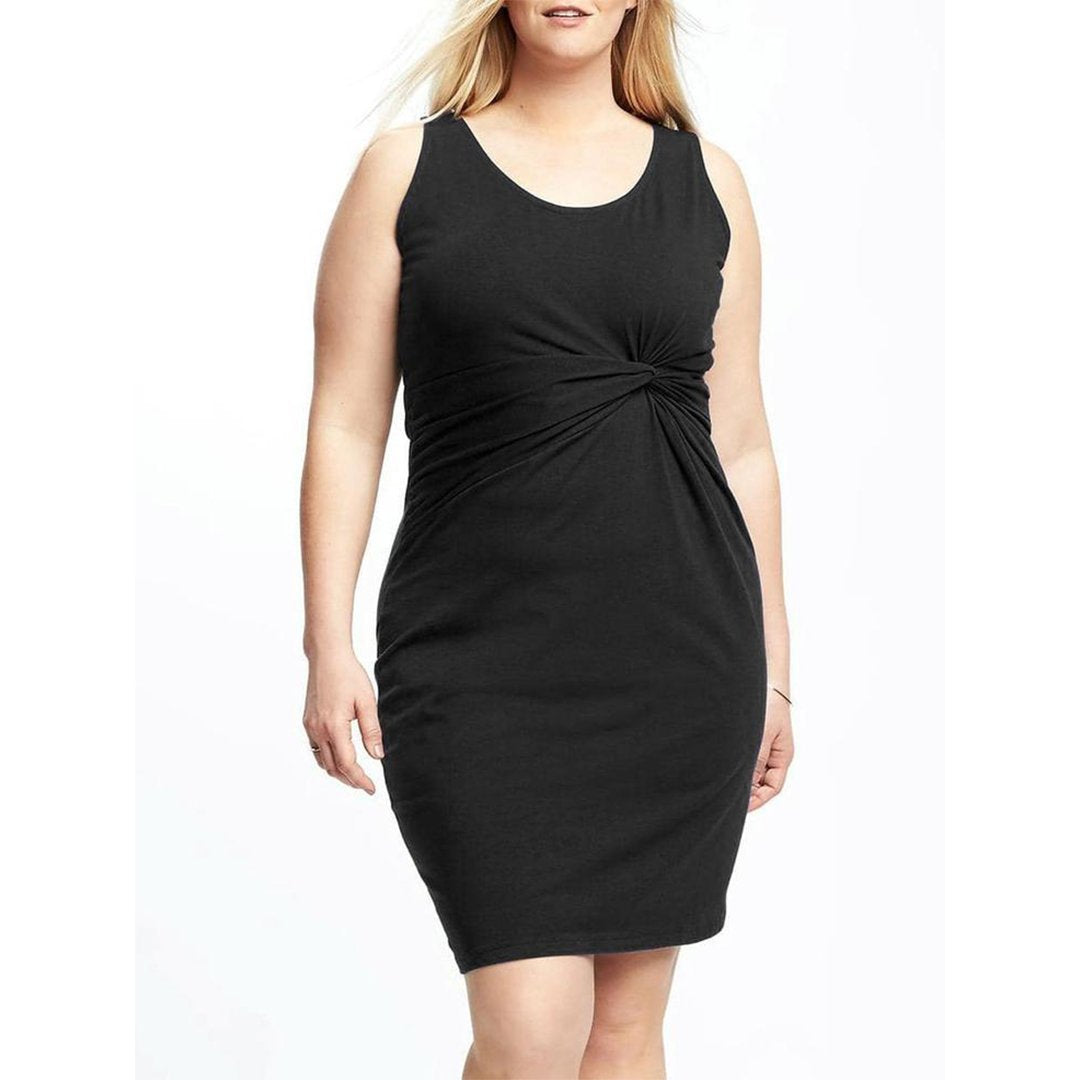 POPHERS Round Neck  Plain Plus Size Bodycon Dresses