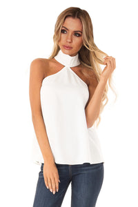 White Sleeveless Halter Top with Keyhole Back