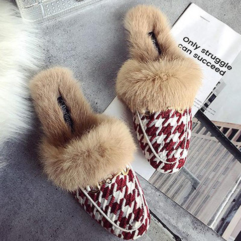 Stylish Houndstooth Metal Buckle Furry Cozy Warm Half Slippers