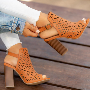 Openwork Fish Mouth Laser Wood Grain Thick With High Heel Sandals