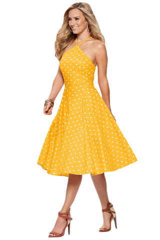 Yellow White Polka Dot Flared Vintage Dress