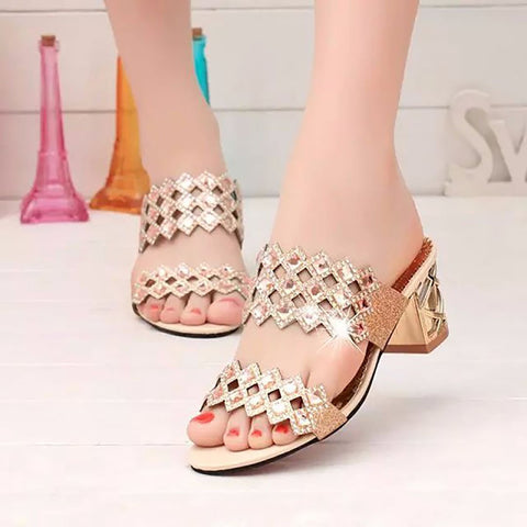 Rhombus Rhinestone Beaded Bling Hollow Out Peep Toe Square Heel Slippers