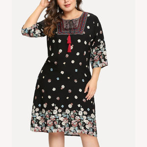 POPHERS Sexy Fashion Loose Plus Size Splice Printed Colour Dress