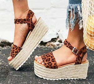 Fashion Buckle   With Platform Wedge Sandals
