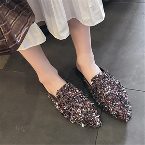 Pointed Retro   Casual Rhinestone Slippers