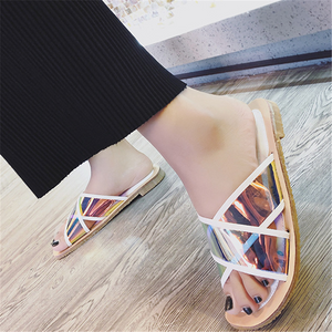Fashion   Transparent Cross Flat Slippers