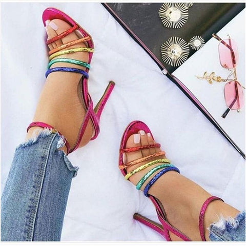 Fashion   Versatile Color Strap Buckle High Heel Sandals