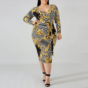 POPHERS Plus Size Commuting Round Neck Belted Printed Colour Package Buttocks Dress