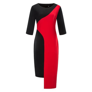 POPHERS Plus Size Commuting Round Neck Halflong Sleeve Splicing Irregular Contrast Color Dress