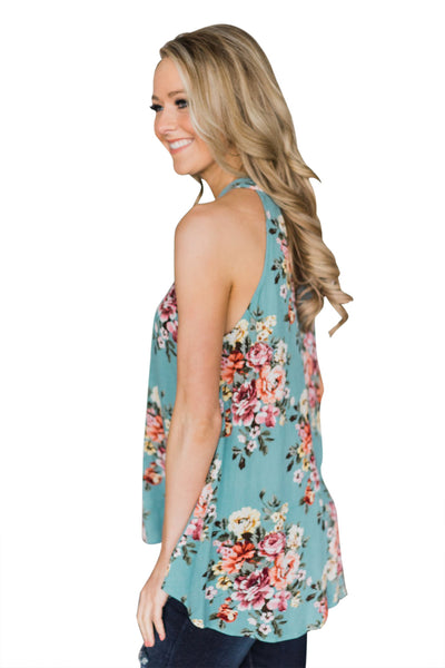 Mint Green Floral Back Cutout Sleeveless Top