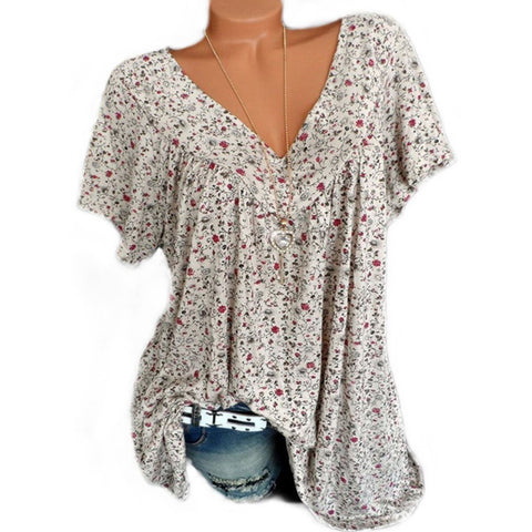 POPHERS V Neck  Loose Floral Printed Blouse