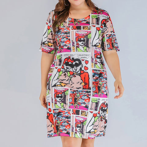 POPHERS Plus Size Casual Round Neck Short Sleeve Printed Colour T-Shirt Dress