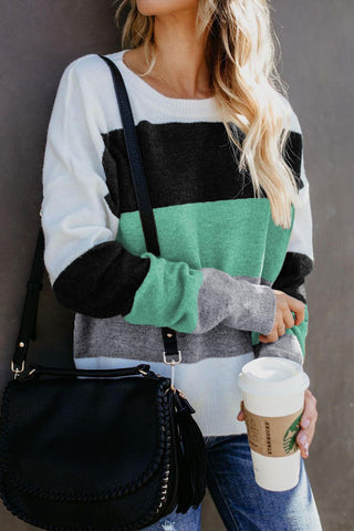 Green Catch Feels Colorblock Sweater