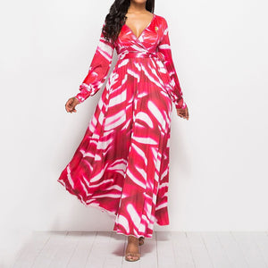 Plus Size Long Dress Printed Colour Long Sleeve Commuting