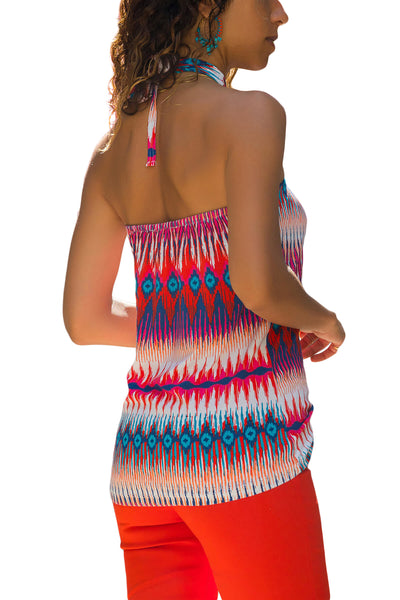 Red Boho Print Halter Tank Top