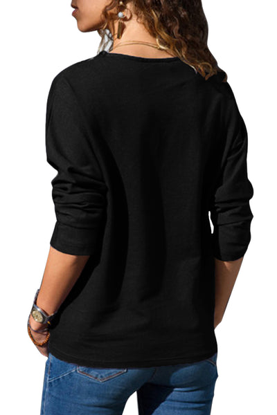 Black Long Sleeve Colorblock Diamond Top