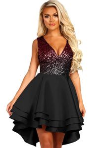 Black Ombre Sequin Multi Layer Skater Dress