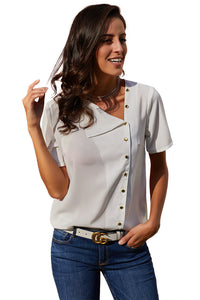 White Short Sleeve Button Detail Loose Fitting Chiffon Blouse
