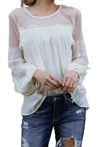 White Fashion Lantern-Sleeve Lace Patchwork Top