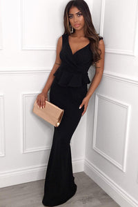 POPHERS Black Cross Over Peplum Maxi Dress