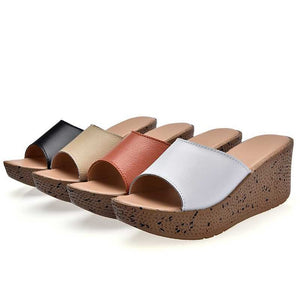 Leather pine cake thick bottom with slope and cool slippers