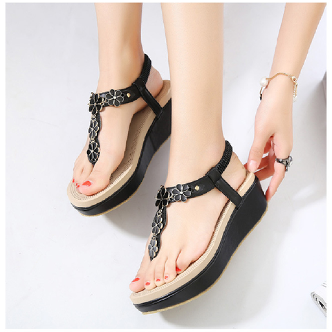 Elastic wedges with women's shoes toe beach shoes Sandals