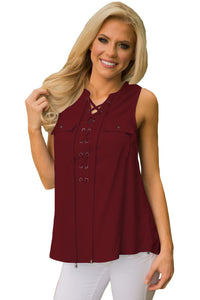 Wine Sleeveless Tank Top with Lace up