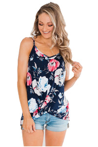 Blue Floral Strappy Shoulder Tank Top