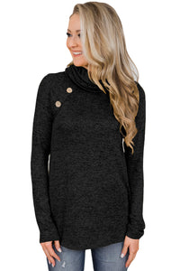 Black Charming Ways Cowl Neck Button up Top