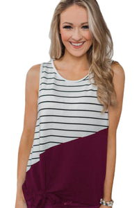 Red Time of Our Lives Striped Tank