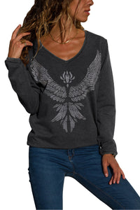 Charcoal Eagle Spread Wing Print Pullover