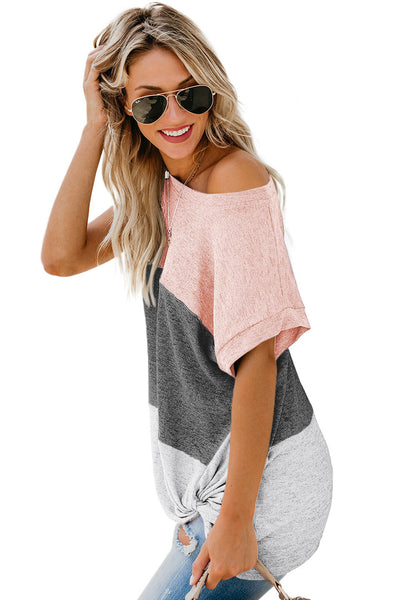Pink Color Block Twist Tee