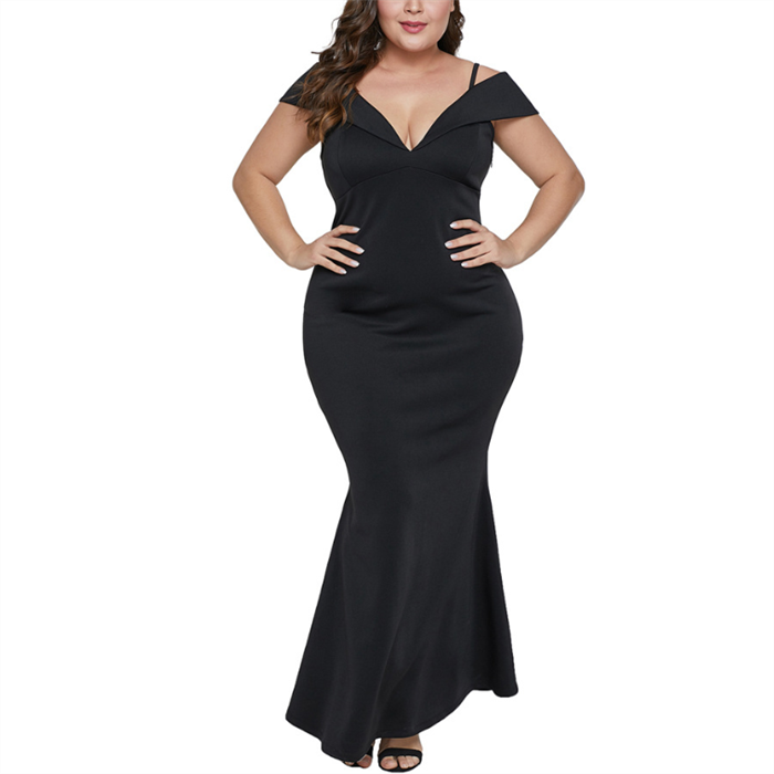 POPHERS Plus-size sexy solid color fish tail dress