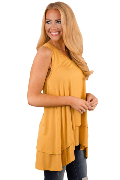 Yellow Ruffled Layer Asymmetric Hem Tunic Tank