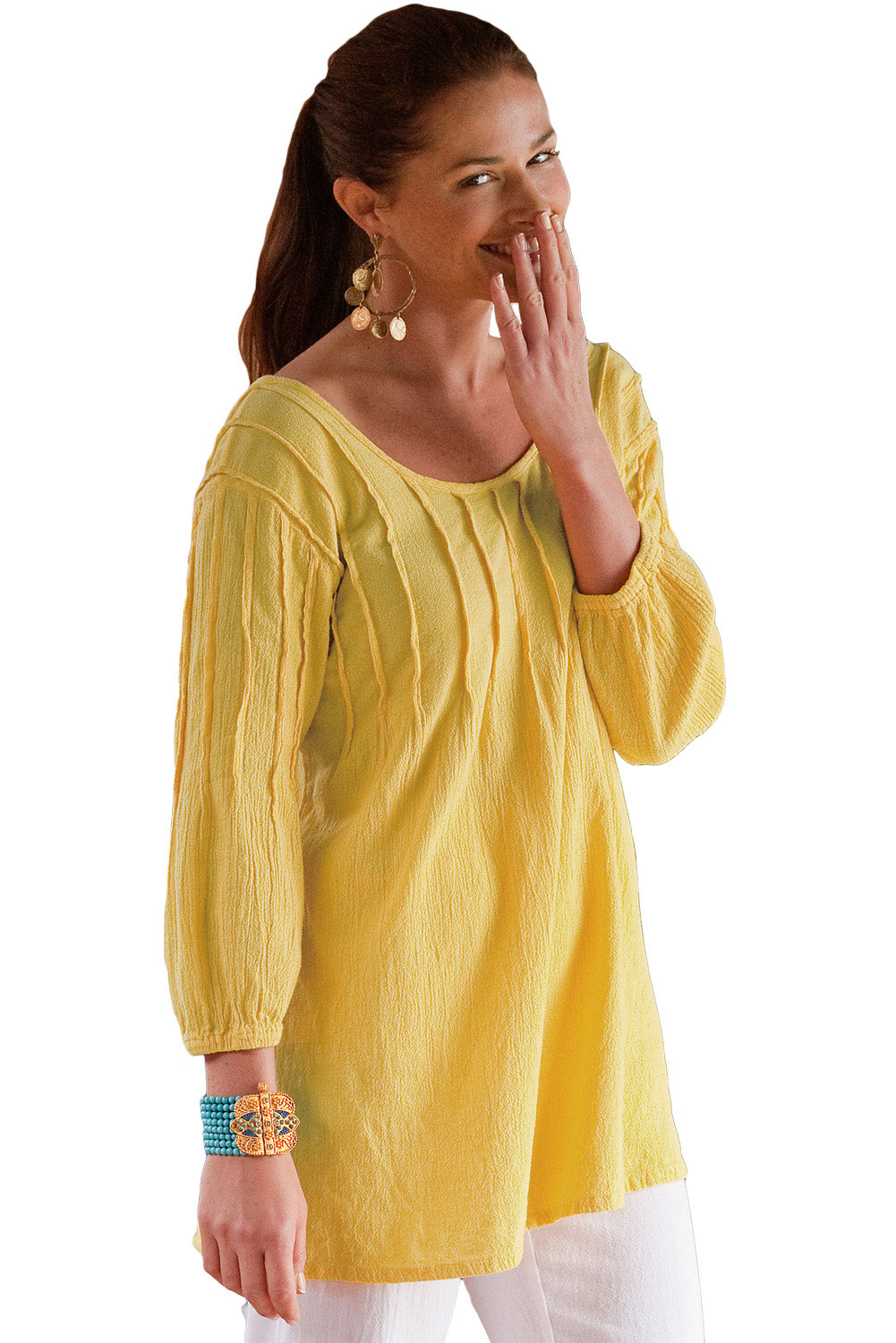 Yellow Pintuck Quarter Sleeved Tunic Top