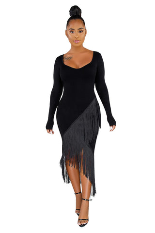 Black Glove Sleeves Fringed High-low Midi Dress